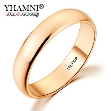 YHAMNI Original 18KGP Stamp Real Solid Gold Ring 5mm Wide Pure White/Rose Gold Rings Wedding Jewelry For Women and Men SJ050