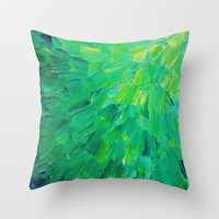 SEA SCALES in GREEN - Bright Green Ocean Waves Beach Mermaid Fins Scales Abstract Acrylic Painting Throw Pillow by EbiEmporium