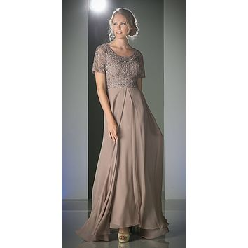 Short Sleeves Split Front Mother of the Bride Dress Mocha