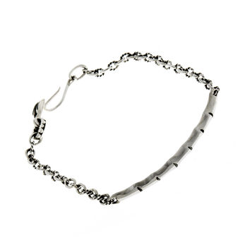 Fossil Bamboo Sterling Silver Repousse Bracelet
