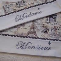 Madame Monsieur French Script Embroidered Pillow Cases Set of 2