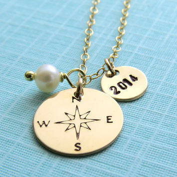 Compass Necklace with Birthstone, Gold, North Star, Journey Necklace, Graduation Gift,  Graduate  Gift, 2014, Graduation necklace