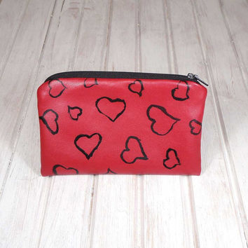 Red purse, Valentine's Day, wallet with hearts, leather red purse, Valentine's Day, Hand Painted purse, Gift for her, love purse, handmade