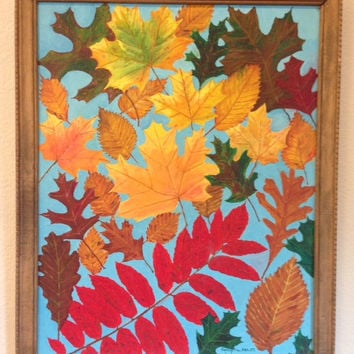 Autumn Leaves Vintage Oil Painting- 1971 by artist Donly L See