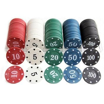 Promotional Texas home mahjong chips chips ABS material 100 special suit fitted 5/10/20/50/100 casino chips coins K8356