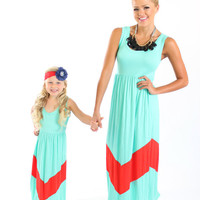 Mint and Dark Coral Color Block Chevron Maxi Dress - Ryleigh Rue Clothing by MVB