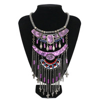 Purple Multi layer Tassel With Diamond Necklace