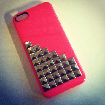 iPhone 5 Steampunk Inspired Hot Pink Studded case