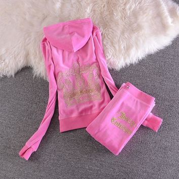 Juicy Couture Sequin Crown Velour Tracksuit 2205 2pcs Women Suits Pink-1