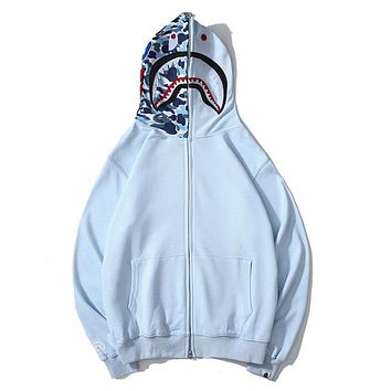 BAPE sells casual couple hoodies shark embroidery camouflage patchwork hats zipper jackets Blue