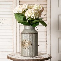 Corrugated Metal Flowers and Plants Can with Handle Vase Planter
