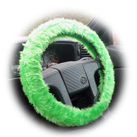 Lime Green faux fur furry fluffy fuzzy car Steering wheel cover