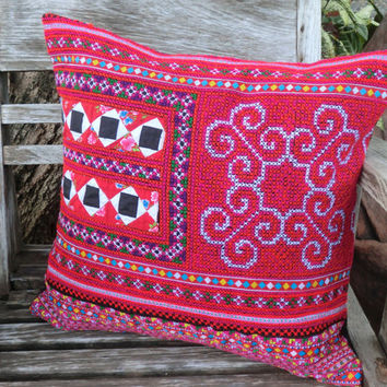 Boho Pillows Embroidered Red And Black Hmong Cushion Cover With Applique16 inch