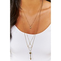Be Right There Layered Necklace (Antique Gold)