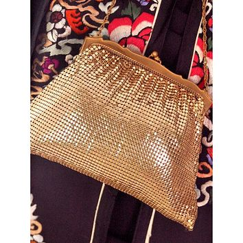 Vintage  Whiting & Davis Gold Tone Mesh Purse 1930s