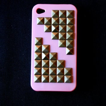 Light Pink Brass Studded iphone 4 or 4s Hard Case: Verizon, Sprint, or AT&T