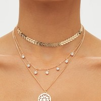 Gold Triple Layered Diamante Necklace