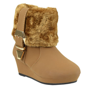 Kids Ankle Boots Fur Cuff Buckle Accent Casual Wedge Shoes Tan