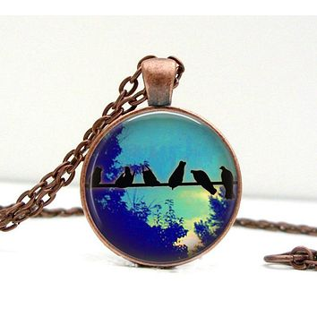 Bird on Wire Necklace Glass Art Picture Pendant Photo Pendant Handcrafted (1091)