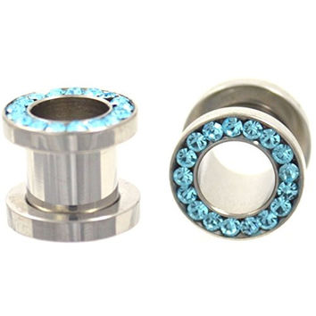 Pair of Aqua Gemmed Rim Stainless Steel Tunnels Bling Ear Plug Gauges - 2G 6MM