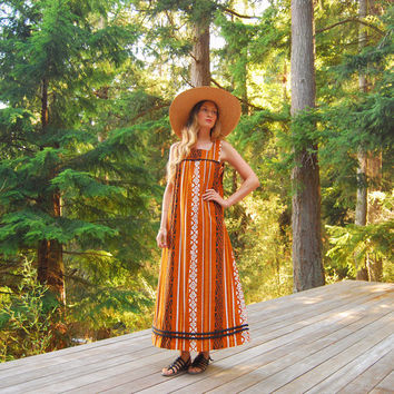 70s Hawaiian Dress, Polynesian Tiki Batik Maxi Dress, Hawaiian Caftan Dress, Orange Yellow Tribal Cotton Dress, Oversized Tent Dress, S M L