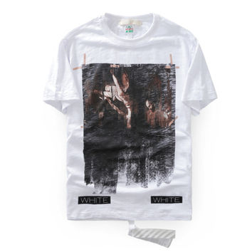 high quality Brand OFF WHITE t-shirt Caravaggio Annunciation faded painting men / women fashion cotton Short sleeves tops tees