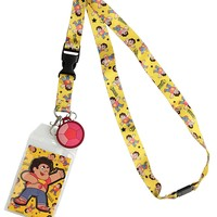 Steven Universe Reversible Breakaway Keychain Lanyard with ID Holder, Rubber Charm and Collectible Sticker