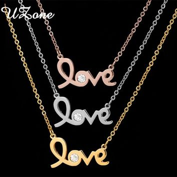 UZone Fashion Crystal Letter Love Necklace Rose Gold And Silver Pendant For Wedding Gift Girlfriend