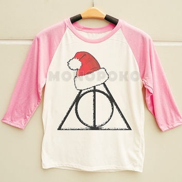 S M L -- Merry Christmas Deathly Hallows Shirt Funny Christmas Shirt Men Shirt Women Shirt Long Sleeve Baseball TShirt Raglan Baseball Shirt