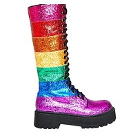 Women Casual Rainbow Chunky Thick Heel Round Toe Sequined Boots