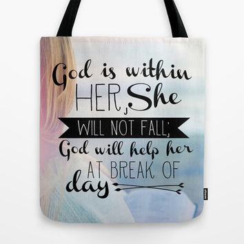 Psalm 46:5 She Will Not Fall Tote Bag by Pocket Fuel