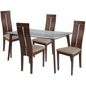 Ridgecrest 5 Piece Walnut Wood Dining Table Set with Glass Top and Clean Line Wood Dining Chairs - Padded Seats