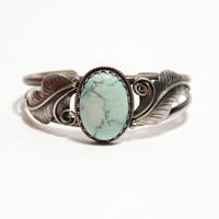 Vintage Light Blue Turquoise Cuff Bracelet in Sterling Silver // Navajo, Zuni, and Aztec Jewelry, Vintage Turquoise Bracelet