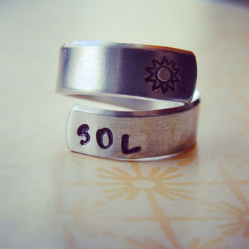 Sol, sun, soleil ring,  aluminum ring swirl style  1/4 inch