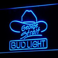 Bud Light George Strait Bar Pub LED Neon Sign with On/Off Switch 7 Colors 4 Sizes