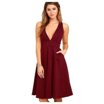 STYLEDOME Women's  Design Deep V Neck Female Sleeveless Sexy Dresses Party Zipper Back A-line Summer Dresses Backless Plus Size