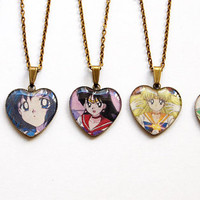 Sailor Moon, Sailor Mercury, Sailor Mars, Sailor Venus, Sailor Jupiter - Set of 5 Handmade Cameo Pendant Necklaces - Best Friends Jewelry