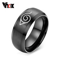 anime naruto ring black cool men jewelry stainless steel mens man party accessories usa size