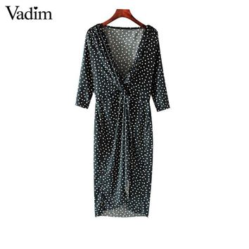 deep V neck velvet wrap dress crossover dot pattern three quarter sleeve retro chic ladies