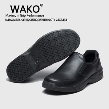 WAKO Professional Chef Work Anti-slip Shoes Men Cook Shoes Safety Black Slip-on Shoes For Unisex