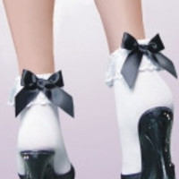 Ankle Socks with Ruffle  Black Bow