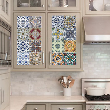 Vinyl decal sheet - Tile Decals - Tile decals for Kitchen or Bathroom Mexico, Morocco, Portugal, Spain, Mosaic #6