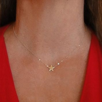 14K Gold Star Necklace, Seen On Kelly Ripa, Emma Watson, and Lea Michele - 14K Solid Yellow Gold or White Gold