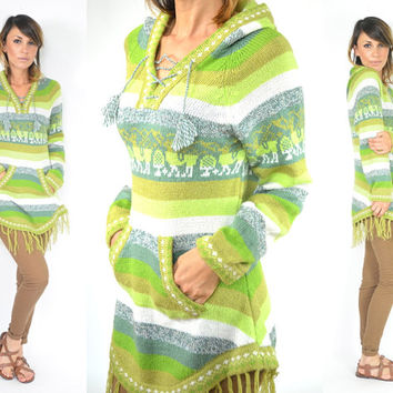 peruvian ALPACA fringed tribal SCROLL bohemian HOODED sweater poncho, extra small-small