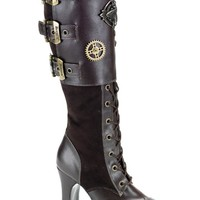 Pleaser Female 4 Inch Heel Platform Steampunk Knee Boot CRYP302