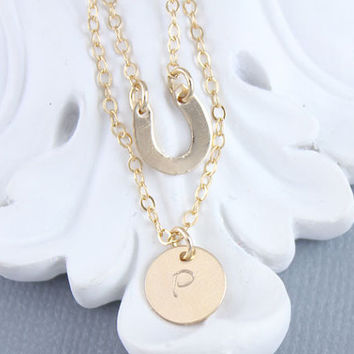 Tiny Gold Filled, Sterling Silver, Rose Gold Filled Horseshoe Dainty Necklace, Personalized Initial, Minimalist Necklace