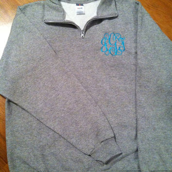 Monogrammed Quarter Zip Pullover Sweatshirt Personalized Embroidered