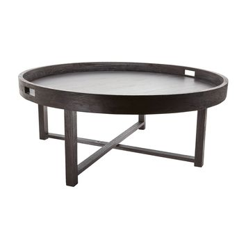 Round Black Teak Coffee Table Tray Brown