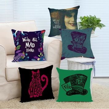 Luxury Print Retail Package Alice In Wonderland Cat Hat We're All Mad Here Design Pillow Case Square Zippered Throw Pillow Cover