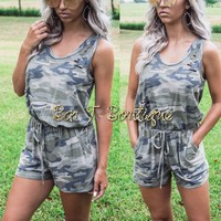 Locked In Tattered Camo Romper